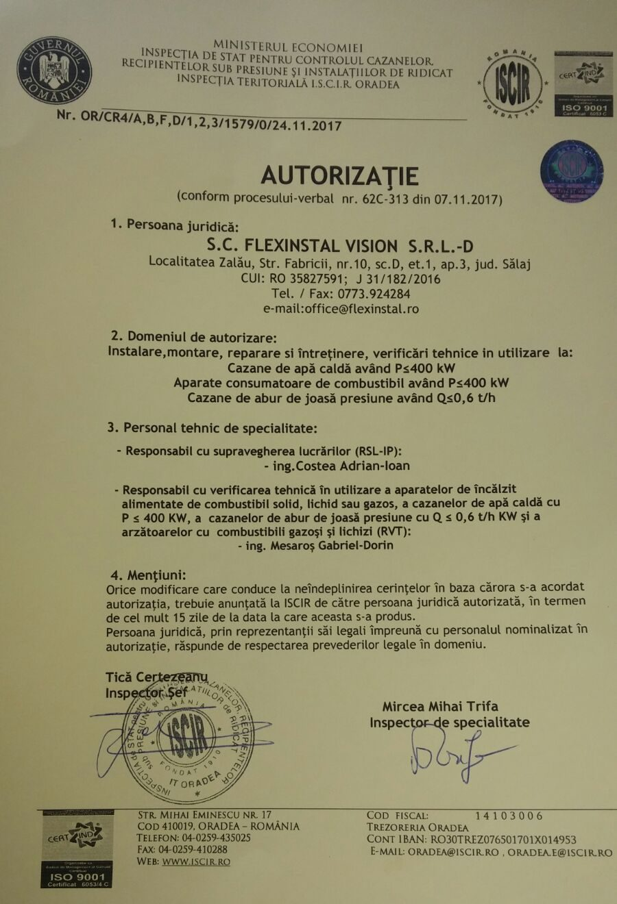 Firma cu Autorizatie ISCIR Zalau FlexInstal